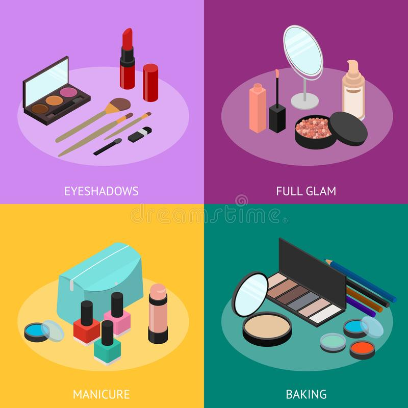 Cosmetic Products Banner Card Set Isometric View. Vector. Cosmetic Products Banner Card Set for Woman Makeup or Skin Care Isometric View Include of Powder vector illustration