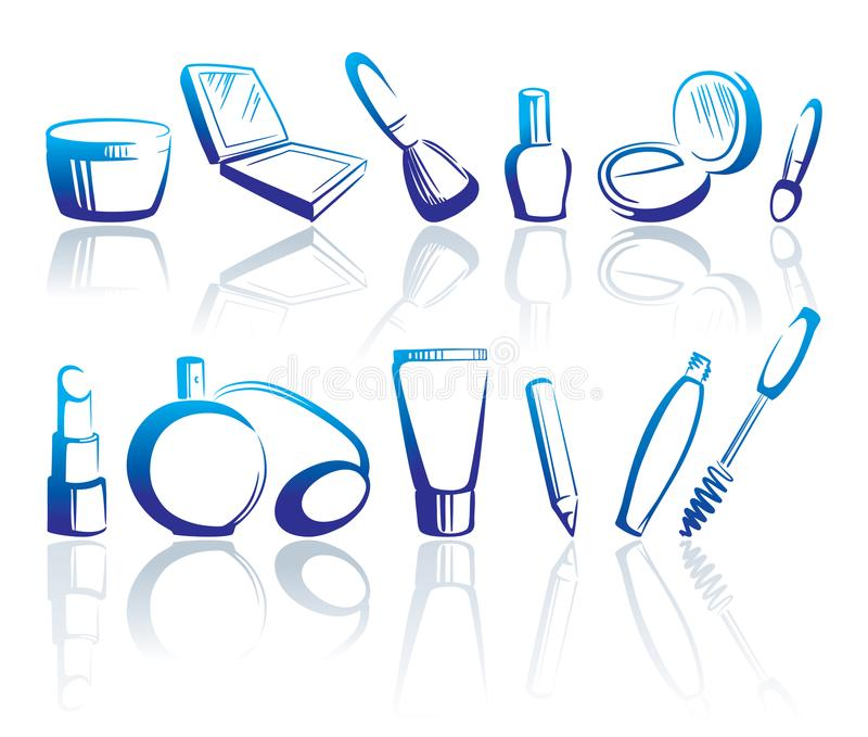 Cosmetics icons. Vector illustration royalty free illustration