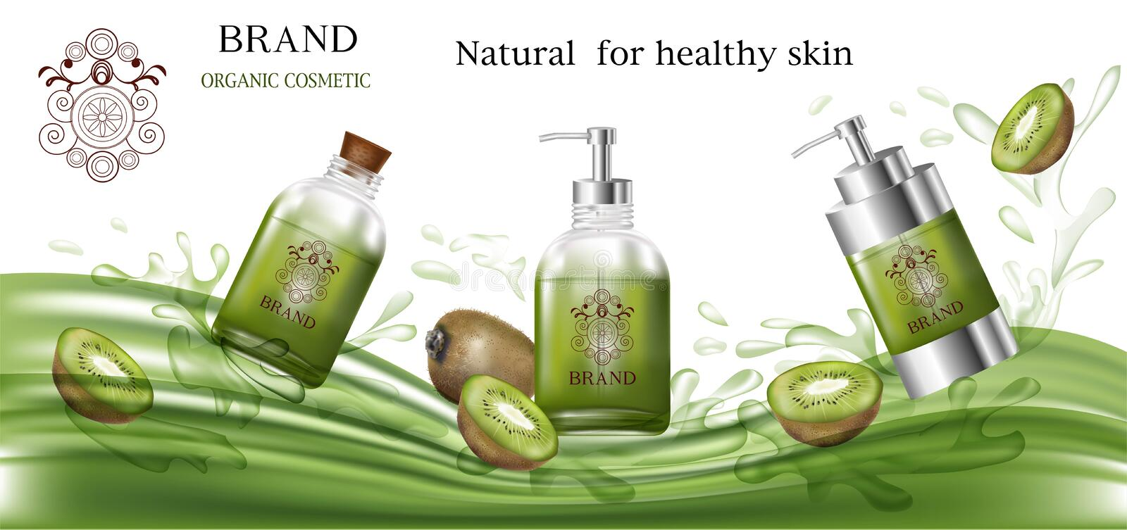 Cosmetic products green color with kiwi for organic. On water splash