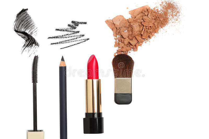 Cosmetic products isolated on white stock photos
