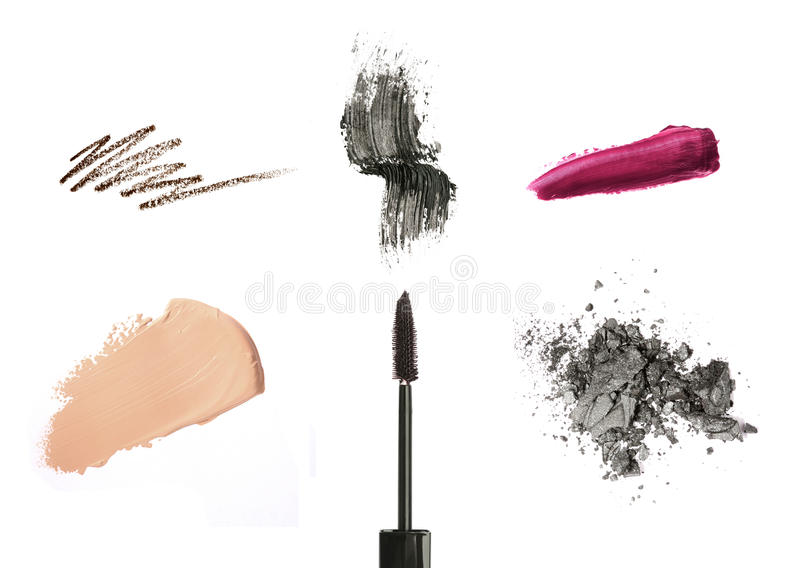 Cosmetic products isolated on white royalty free stock photo
