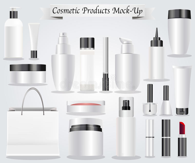 Cosmetic products mock-up vector illustration
