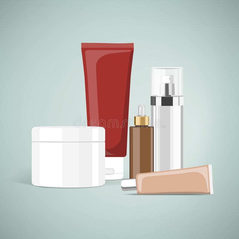 Cosmetic products. And skincare packaging with blank label vector illustration