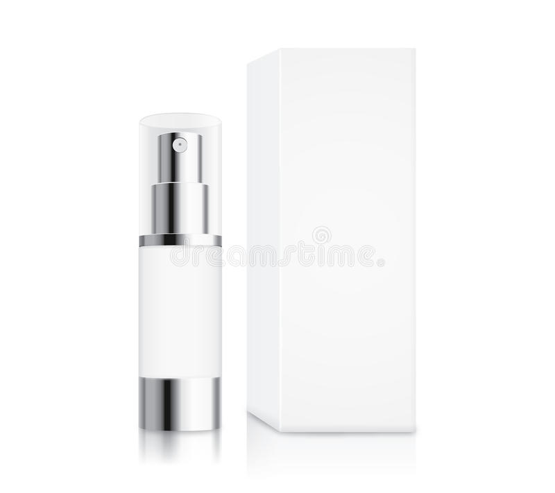 Cosmetic pump bottle small size. And white box on white for serum container mock up and cream and gel or other job stock illustration
