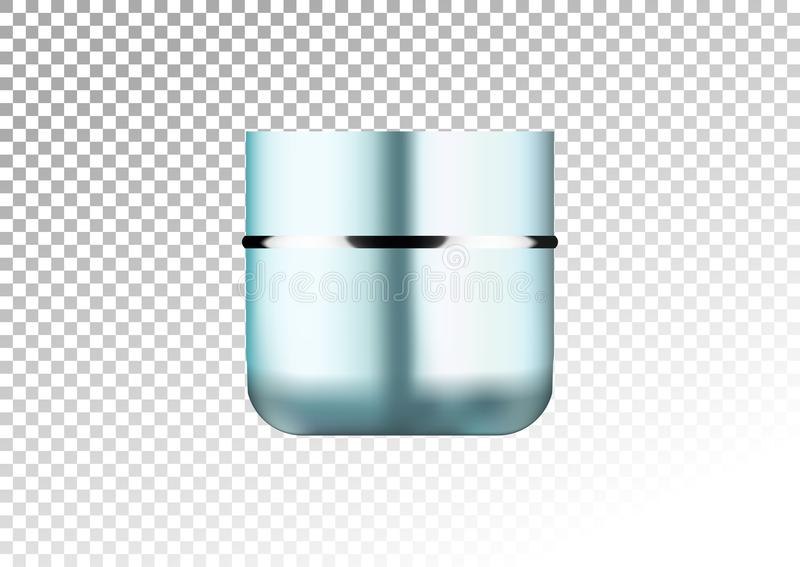 Cosmetic realistic blue and silver plastic cream jar . Beauty product package template, illustration. Realistic mockup of p. Cosmetic realistic blue and silver stock illustration