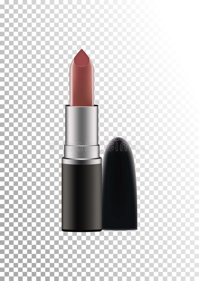 Cosmetic realistic plastic black compact lipstick Cosmetic beauty make up product package template,vector illustration royalty free illustration