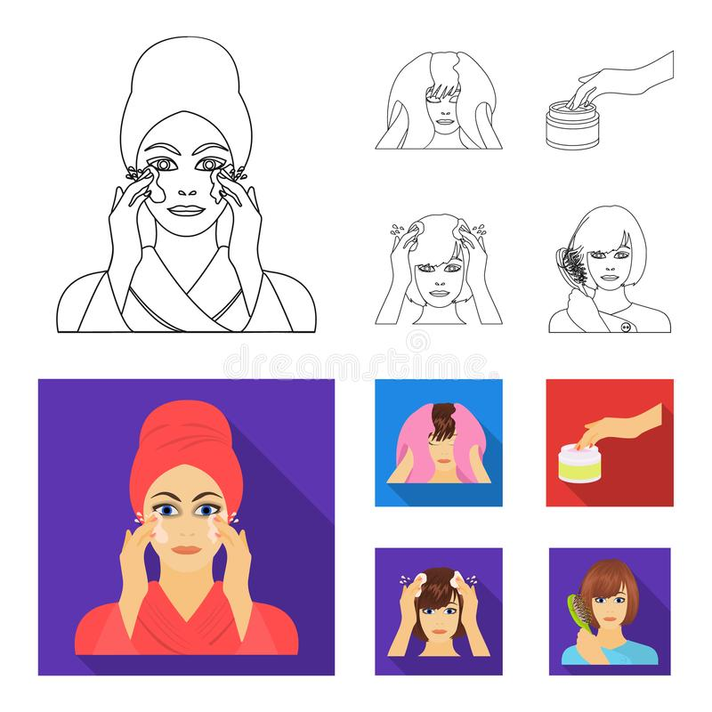 Cosmetic, salon, hygiene, and other web icon in outline,flat style. Napkin, hygienic, hairdresser, icons in set. Cosmetic, salon, hygiene, and other icon in stock illustration
