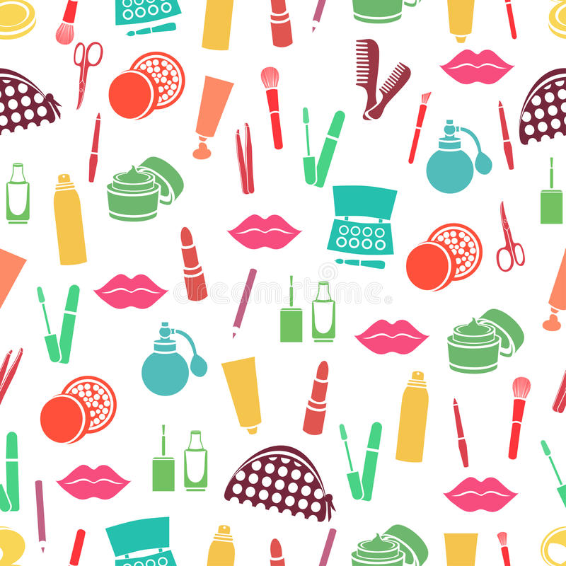 Cosmetic seamless pattern, accessories background. Colorful abstract flat products stock illustration