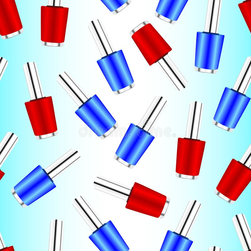 Cosmetic seamless pattern, vector eps 10. Cosmetic seamless pattern with red and blue nail polish. Vector eps 10 stock illustration