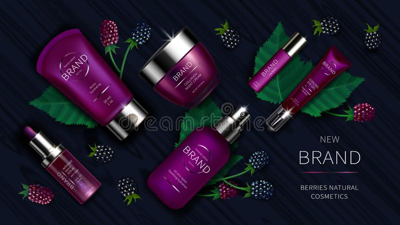 Cosmetic series with wild berries realistic vector royalty free illustration