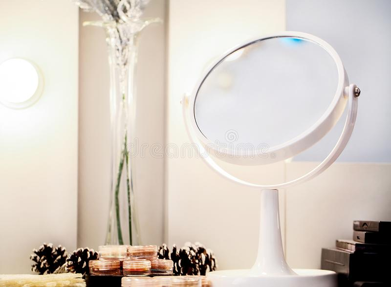 Download Cosmetic Set On Light Dressing Table Stock Photo   Image Of Cream,  Accessories: