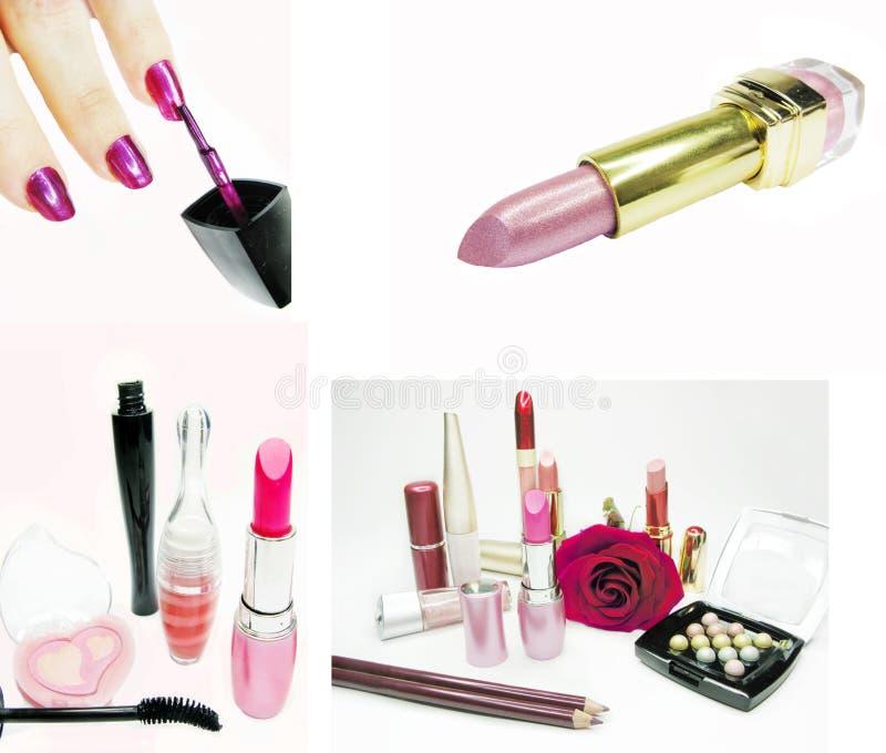 Cosmetic set for makeup lipstick mascara eye-shadows. Eye shadows cosmetic pencils nail polishers mascara lipstick isolated royalty free stock image