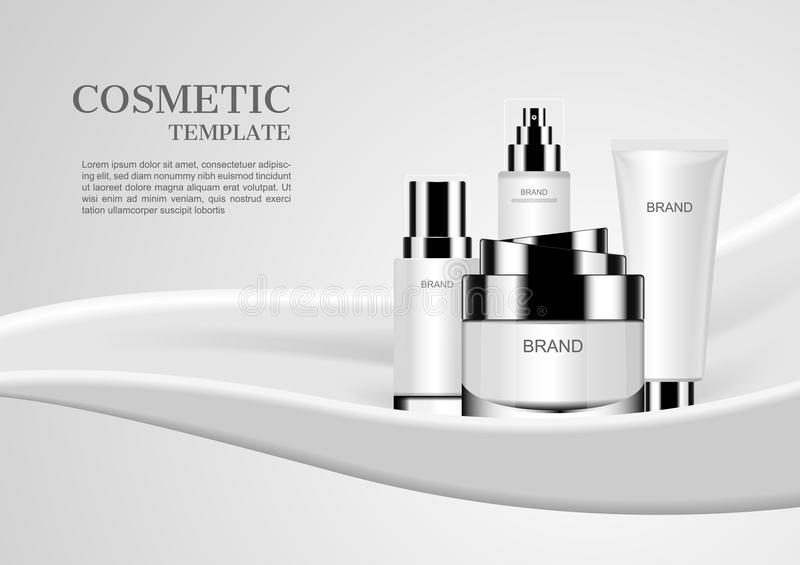 Cosmetic set on white milk background vector cosmetic mockups.  stock illustration