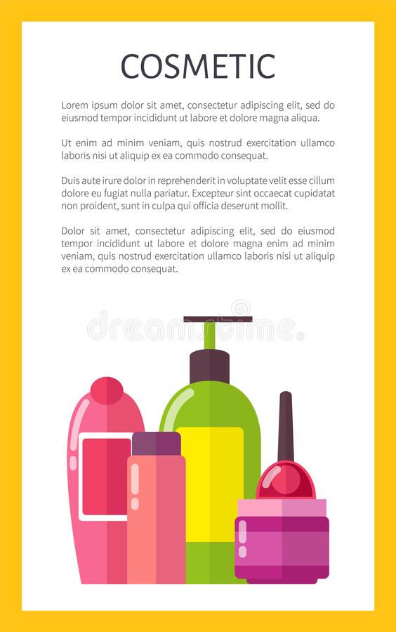 Cosmetic for Skincare and Hygiene Maintenance. Promo banner with sample text. Bottles of shower gel, liquid soap and soft creams vector illustrations royalty free illustration