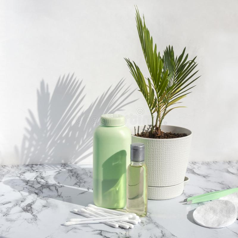Cosmetic skincare products on marble background with palm leaves shadow. Glass bottle of natural oil, modern concept of organic stock photos