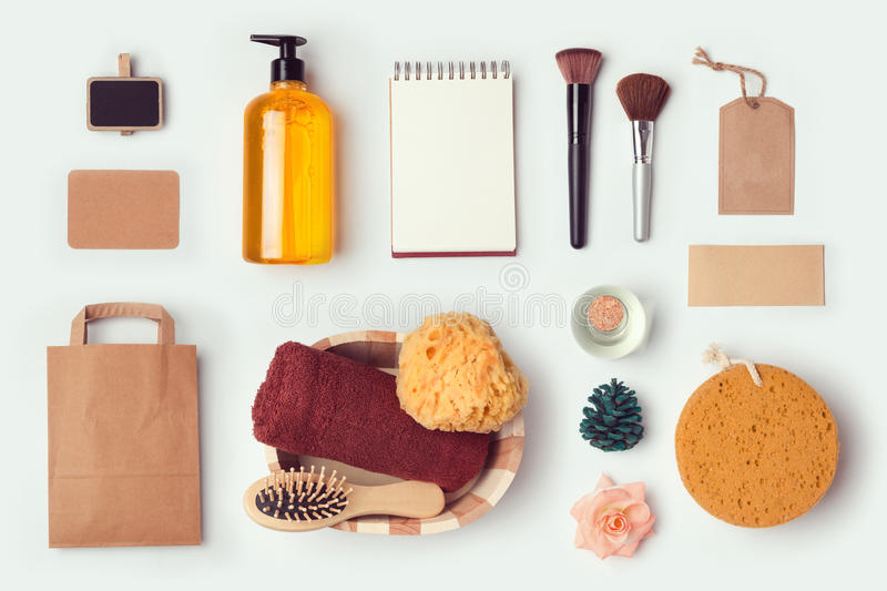 Cosmetic SPA mock up template for branding identity design. View from above. royalty free stock photo