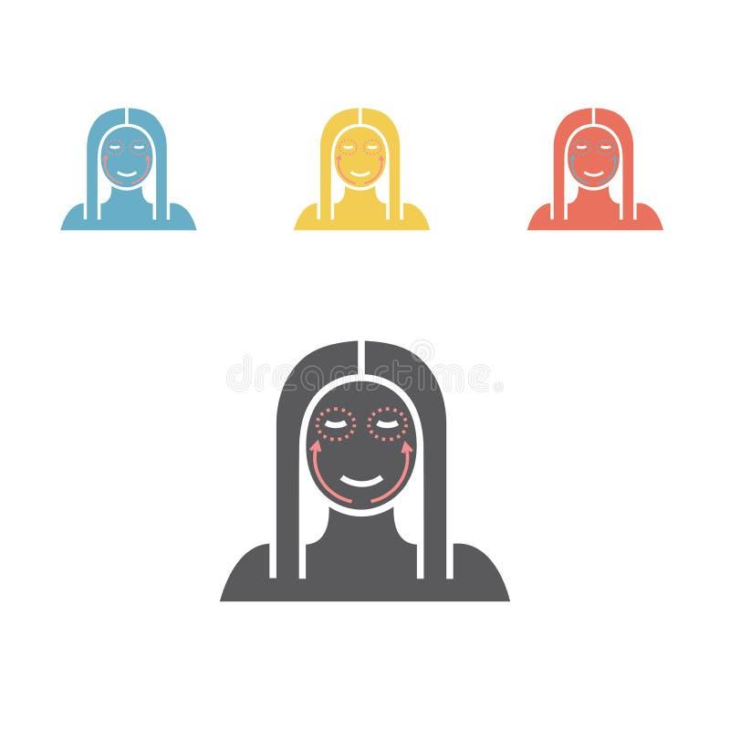 Cosmetic surgery icon. Woman face. Vector illustration. Cosmetic surgery icon. Woman face. Vector flat cartoon illustration royalty free illustration