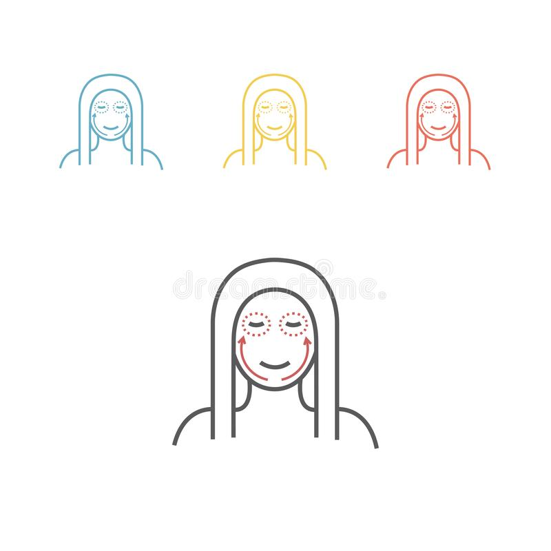 Cosmetic surgery line icon. Woman face. Vector illustration royalty free illustration