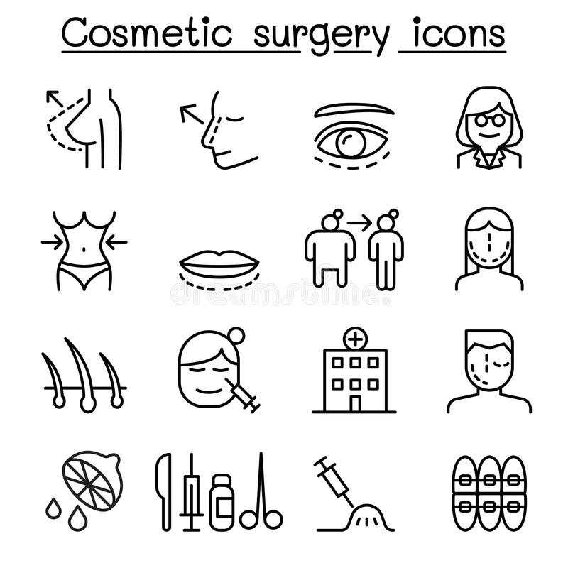 Cosmetic Surgery , Surgical operation icon set in thin line style vector illustration