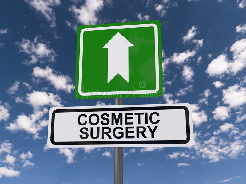 Cosmetic surgery this way. An illustration of a traffic sign with an arrow and the text 'cosmetic surgery vector illustration