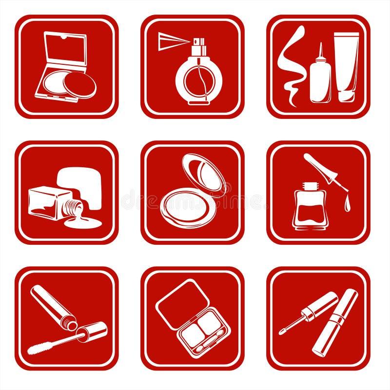 Cosmetic symbols. Ornate cosmetic symbols: powder compact, eyeshadows, lipstick, mascara and nail polish on a white background vector illustration