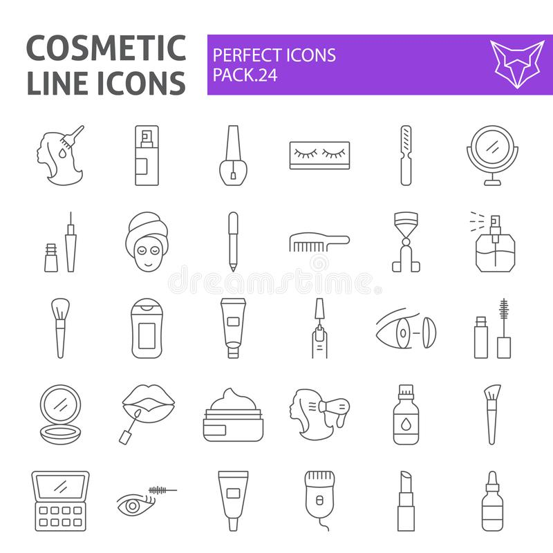 Cosmetic thin line icon set, makeup symbols collection, vector sketches, logo illustrations, beauty signs linear stock illustration