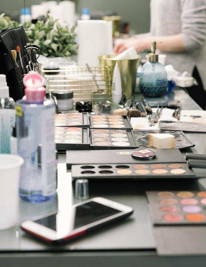 Cosmetic and tools of professional makeup artist. royalty free stock image