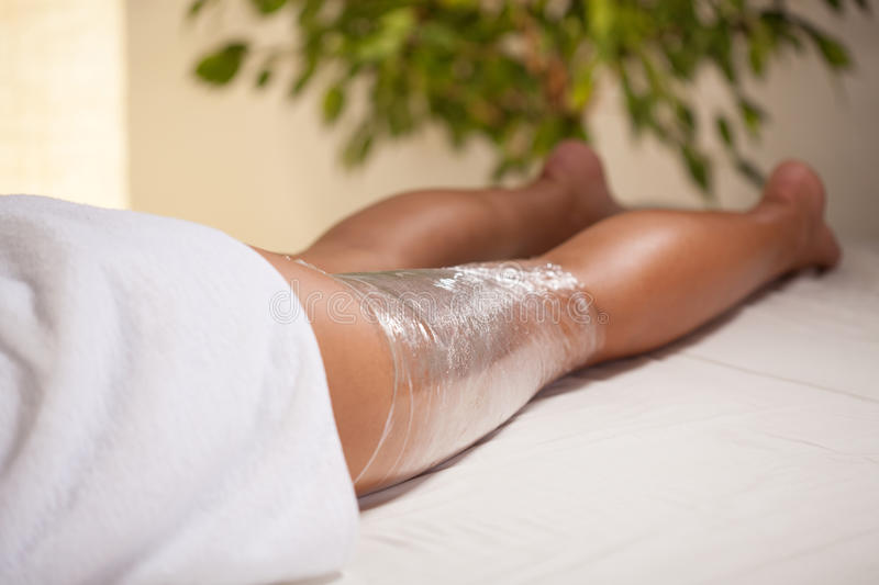Cosmetic treatment of the leg royalty free stock photography