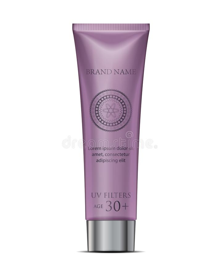 Cosmetic tube cream mockup in purple. White Plastic Tube Packaging. Isolated. On White Background Vector stock illustration