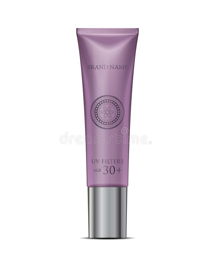 Cosmetic tube cream mockup in purple. White Plastic Tube Packaging. Realistic lipstick. Isolated royalty free illustration