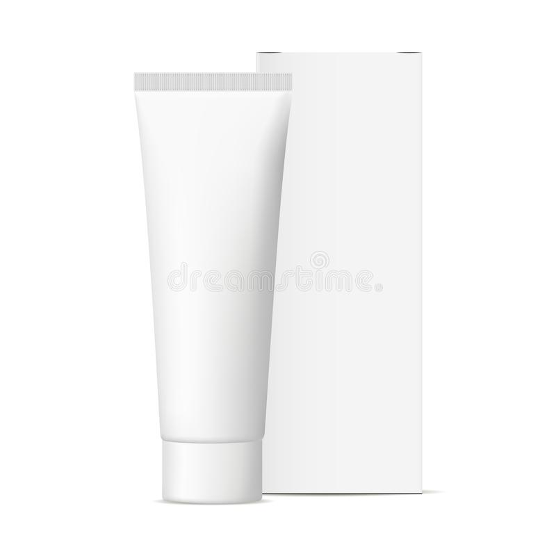 Cosmetic tube with packaging box mockup. Isolated on white background. Vector illustration stock illustration