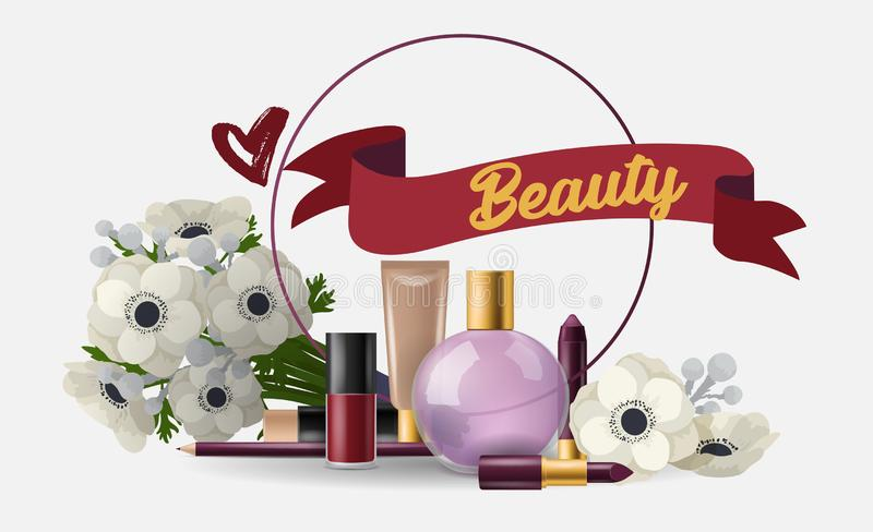 Cosmetic vector beauty make up cosmetology for beautiful woman with makeup foundation powder perfume illustration card vector illustration