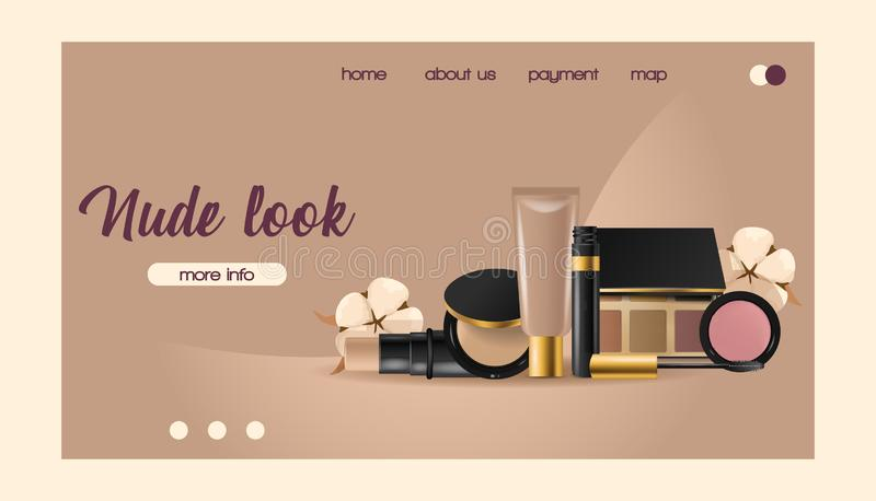 Cosmetic vector landing web page beauty make up cosmetology for beautiful woman with makeup foundation powder royalty free illustration