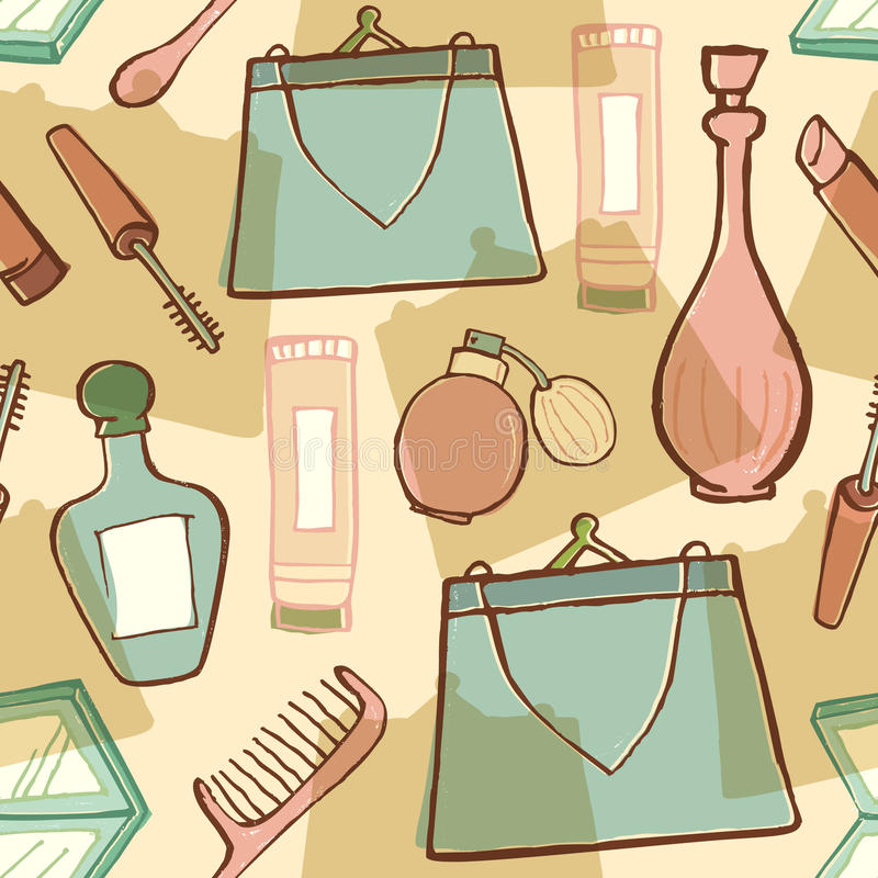 Download Cosmetic And Woman Accessories Stock Vector - Illustration of seamless, decorative: 12659676