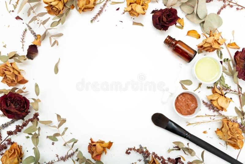 Cosmetici botanici aromatici Miscela secca dei fiori delle erbe, maschera facciale dell'argilla del fango, oli, applicanti spazzo fotografia stock libera da diritti