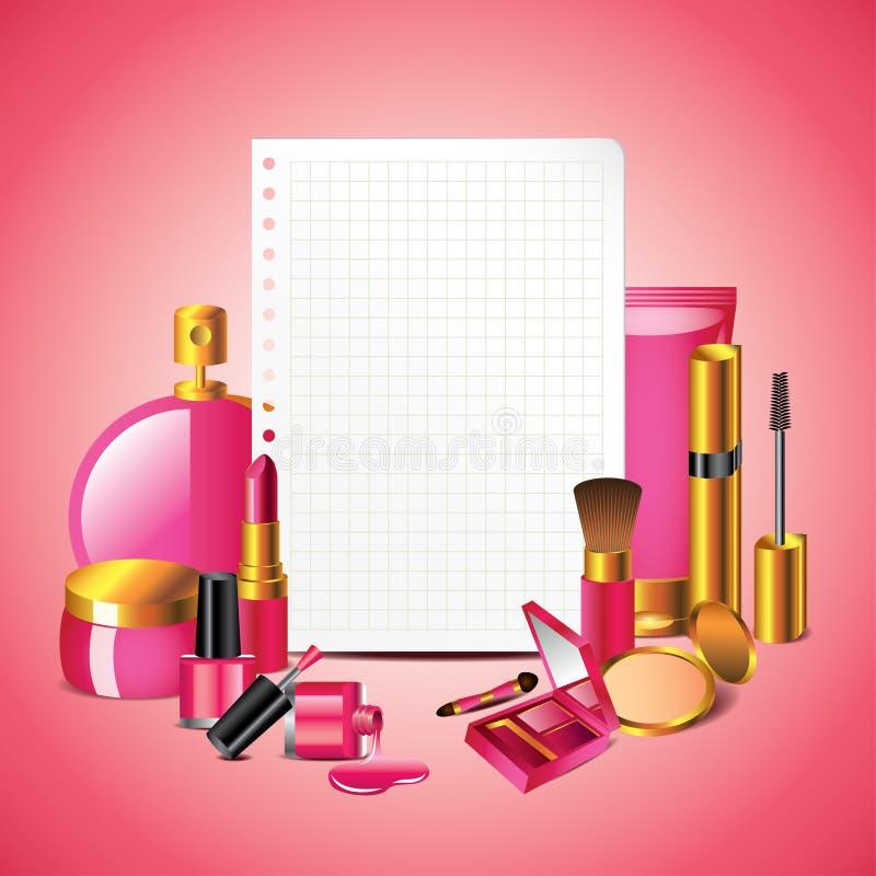 Cosmetici con il fondo della carta in bianco illustrazione vettoriale