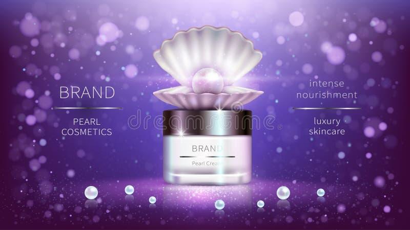 Cosmetici della perla, manifesto di pubblicit? realistico di vettore illustrazione di stock