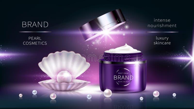 Cosmetici della perla, manifesto di pubblicit? realistico di vettore royalty illustrazione gratis