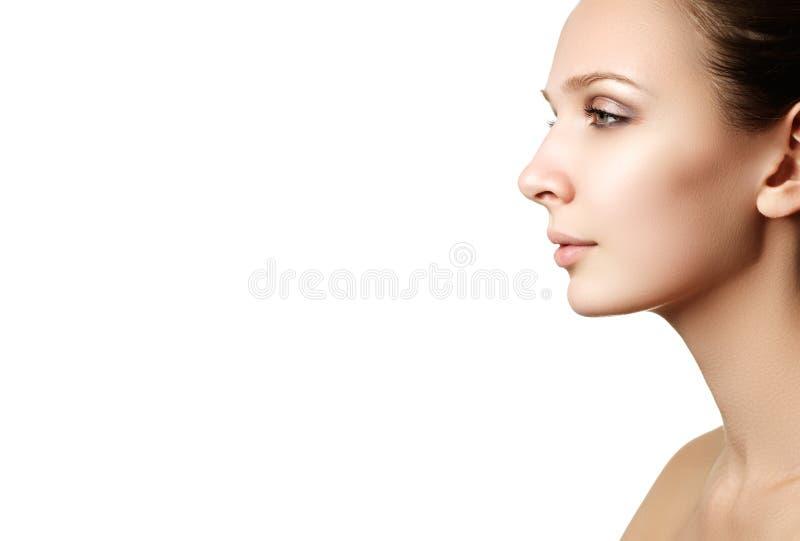 Cosmetici di trucco Ritratto del primo piano di bello modello f della donna immagini stock libere da diritti