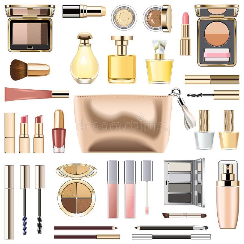 Cosmetici di trucco di vettore con la borsa cosmetica dorata illustrazione vettoriale