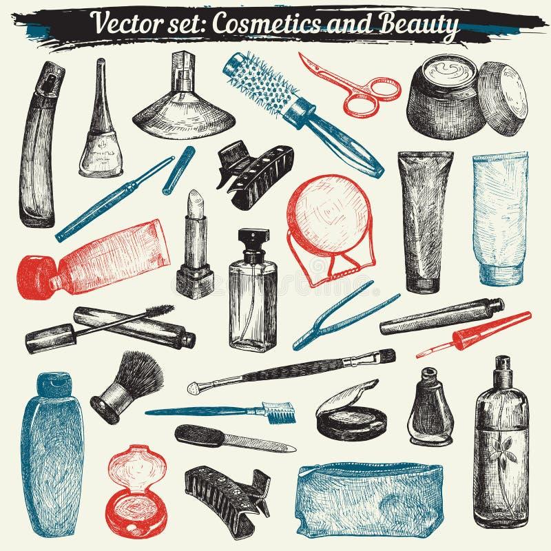 Cosmetici e vettore fissato scarabocchi di bellezza royalty illustrazione gratis