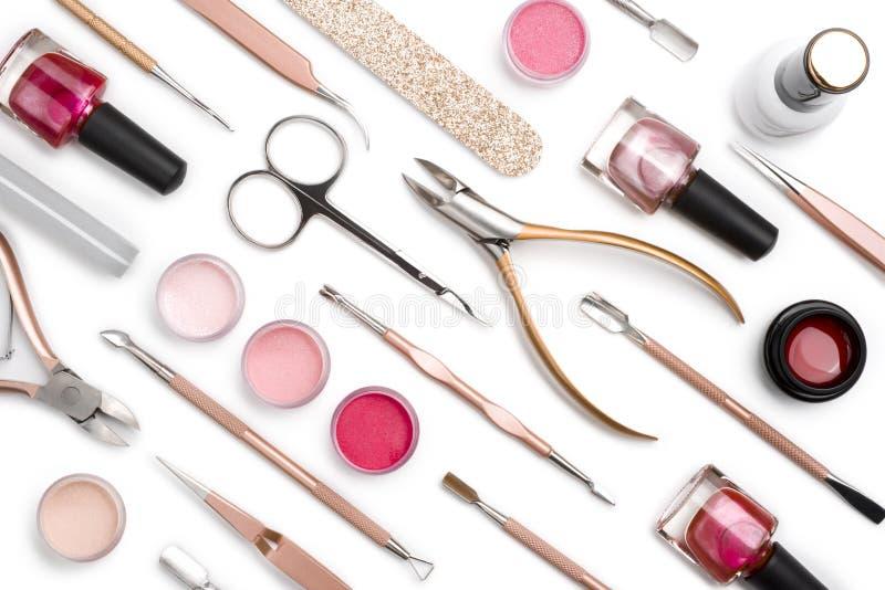 Cosmetici ed accessori per manicure o pedicure isolati su bianco fotografie stock libere da diritti