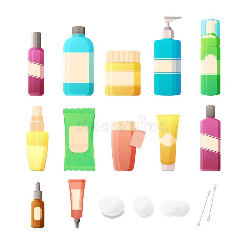 Cosmetici messi nello stile piano Bottiglie dei cosmetici e degli accessori per cura di pelle Le lozioni, screma, tonici e cuscin royalty illustrazione gratis