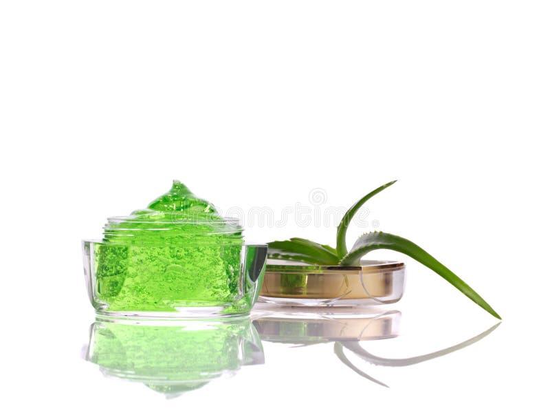 Cosmetici naturali con aloe vera immagini stock