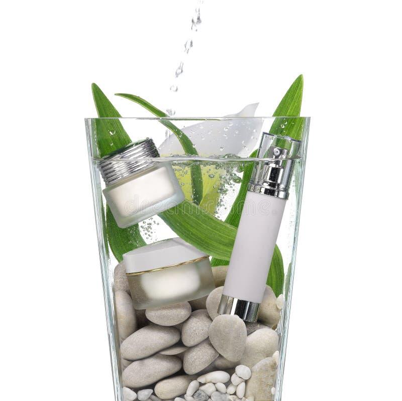Cosmetici nell'acqua fotografie stock libere da diritti