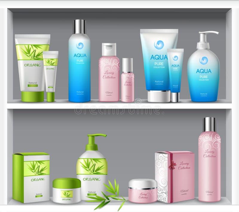 Cosmetici sugli scaffali illustrazione di stock
