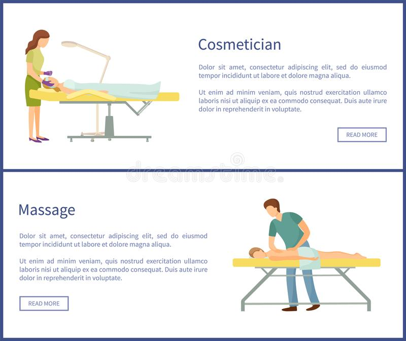 Cosmetician and Massage Spa Procedures Masseur. Cosmetician and massage spa procedures by professional masseur. Client lying on table and relaxing vector web royalty free illustration