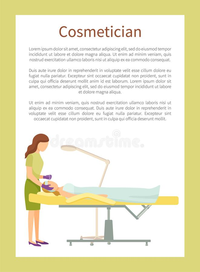 Cosmetician Poster Woman Makes Cosmetic Procedures royalty free illustration