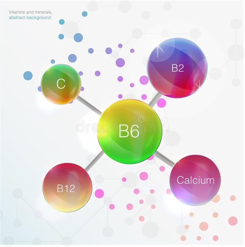 Cosmetico blu di cura di pelle di concetto del fondo della vitamina e del siero calcio, b1, b2, b6, b12, A, C, D, royalty illustrazione gratis
