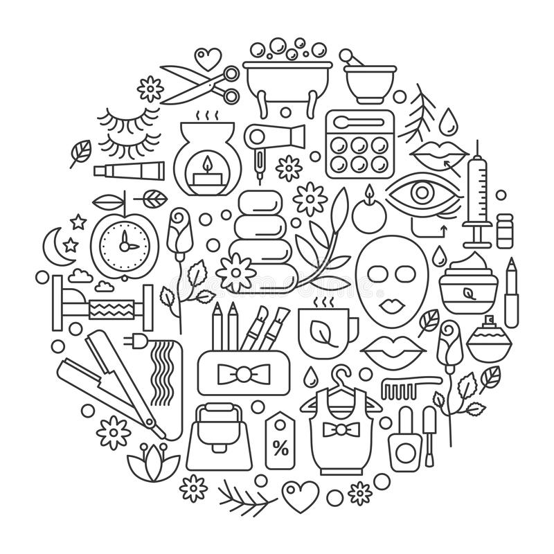 Cosmetico di bellezza nel cerchio - linea illustrazione di concetto di vettore per la copertura, emblema, distintivo Salone di la illustrazione di stock